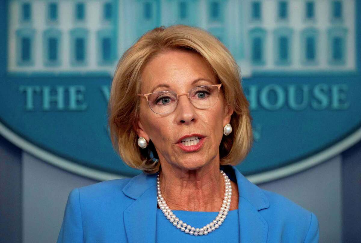 U.S. Secretary of Education Betsy Devos speaks during the daily briefing on COVID-19 at the White House on March 27.