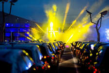 A recent drive-in rave in Germany.