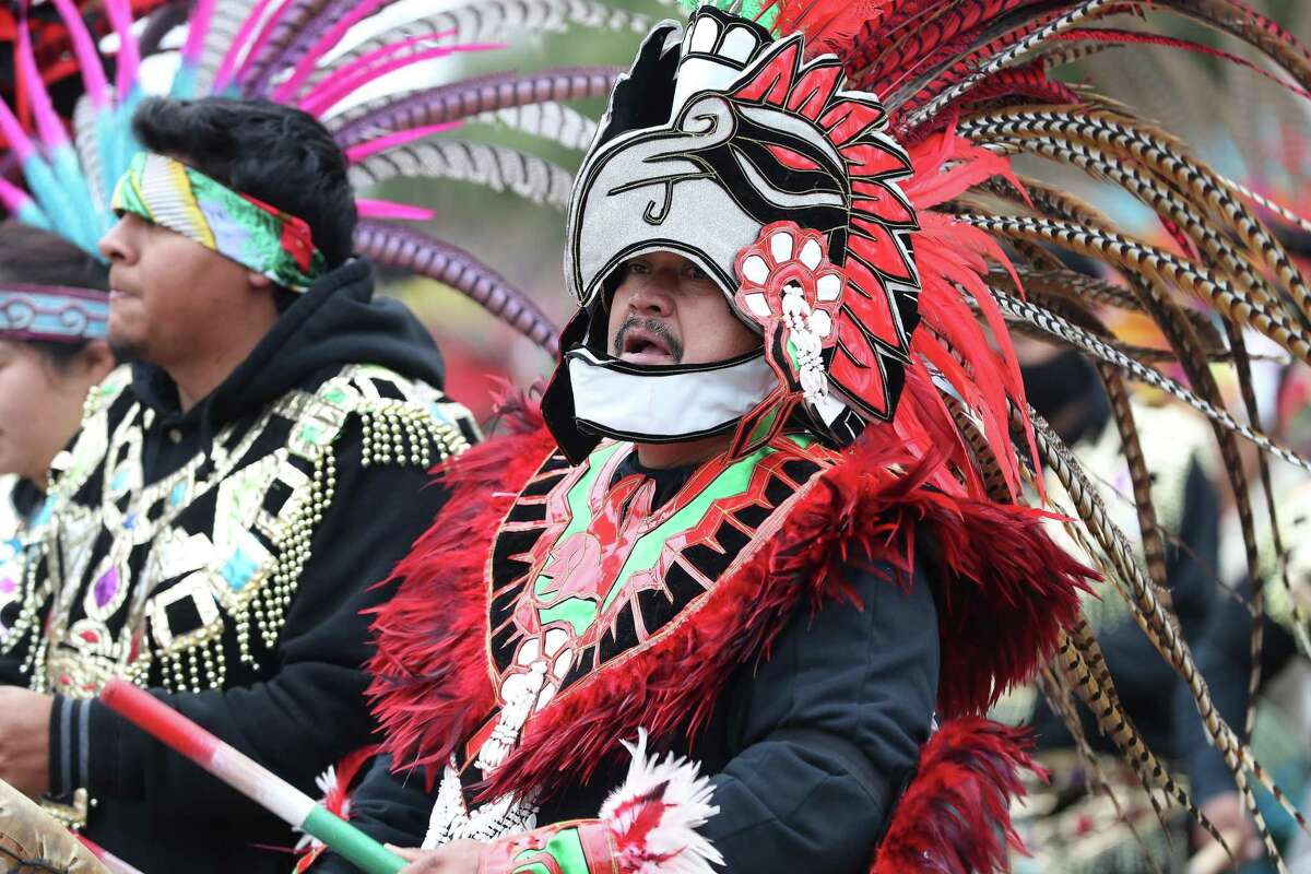 About 1,000 Danzantes and Matachines (indigenous folk dancers), wearing elaborate headpieces and traditional Aztec-style dress paraded from the Archdiocese's Chancery to the George R. Brown Convention Center Sunday, Dec. 9, 2018, in Houston. The annual event, sponsored by the Archdiocesan Guadalupana Association, commemorates the official Church feast day of Our Lady of Guadalupe on Dec. 12.