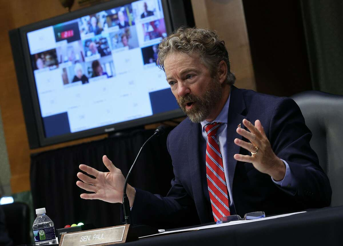 Sen. Rand Paul (R-Ky.) speaks during during a Senate Committee for Health, Education, Labor, and Pensions hearing on the coronavirus response, in Washington, Tuesday, May 12, 2020. (Win McNamee via The New York Times) -- FOR EDITORIAL USE ONLY --