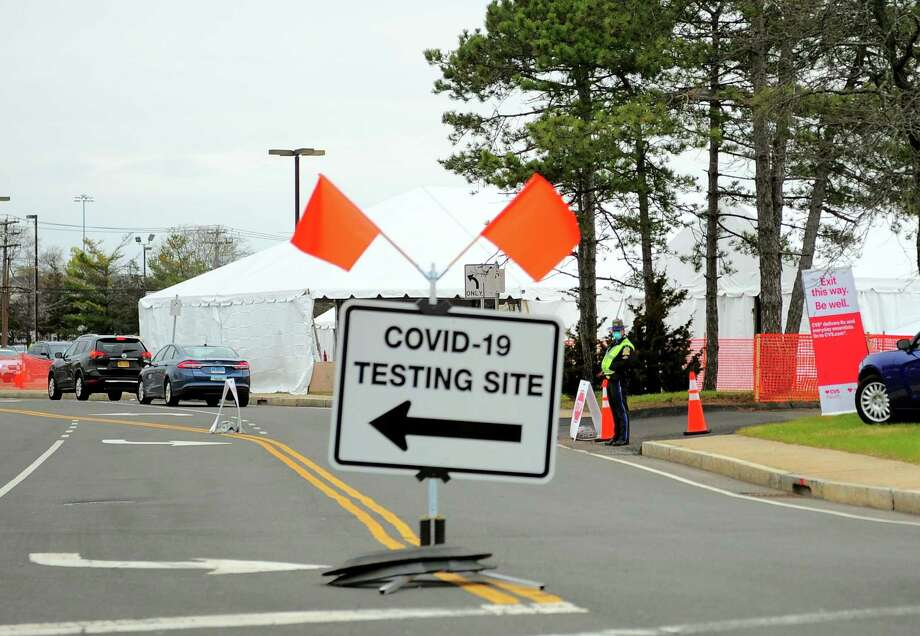The Covid-19 testing site on Sargent Drive in New Haven, Conn., on Thursday Apr. 23, 2020. Photo: Christian Abraham / Hearst Connecticut Media / Connecticut Post