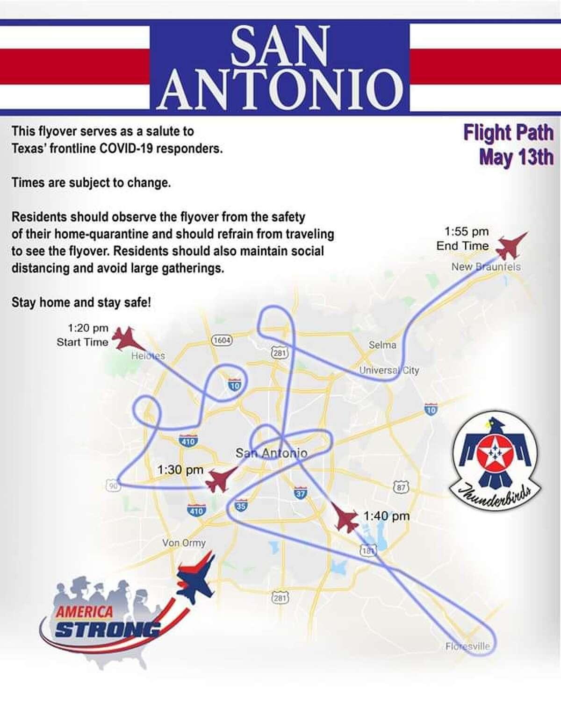Where the Thunderbirds will fly in San Antonio.