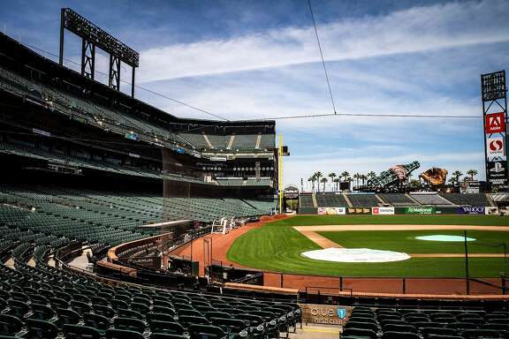 The field club seats at Oracle Park on Friday, May 8, 2020, in San Francisco, Calif. Professional sports could see a rise in virtual reality offered to fans, amid the coronavirus pandemic. The San Francisco Giants would have hosted the Chicago White Sox today. The season was postponed, amid the coronavirus pandemic.