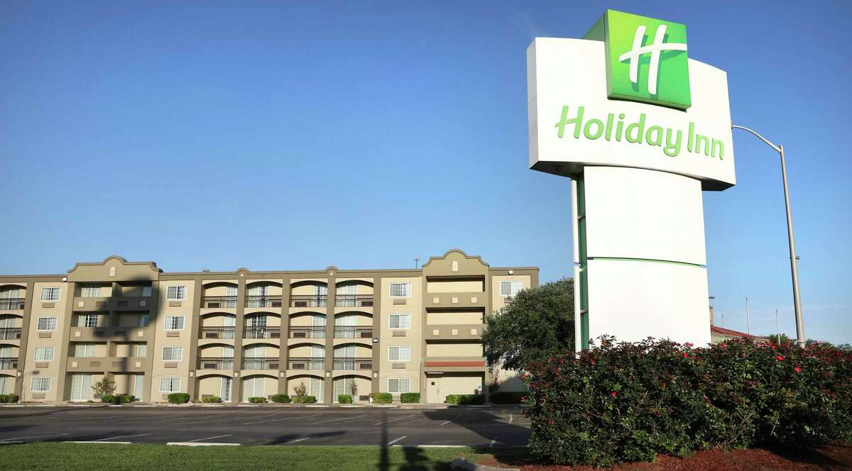 The City of San Antonio and Haven for Hope are using the Holiday Inn Hotel building located at 318 W. Cesar Chavez Blvd. to house some of the homeless, on Wednesday, April 15, 2020.