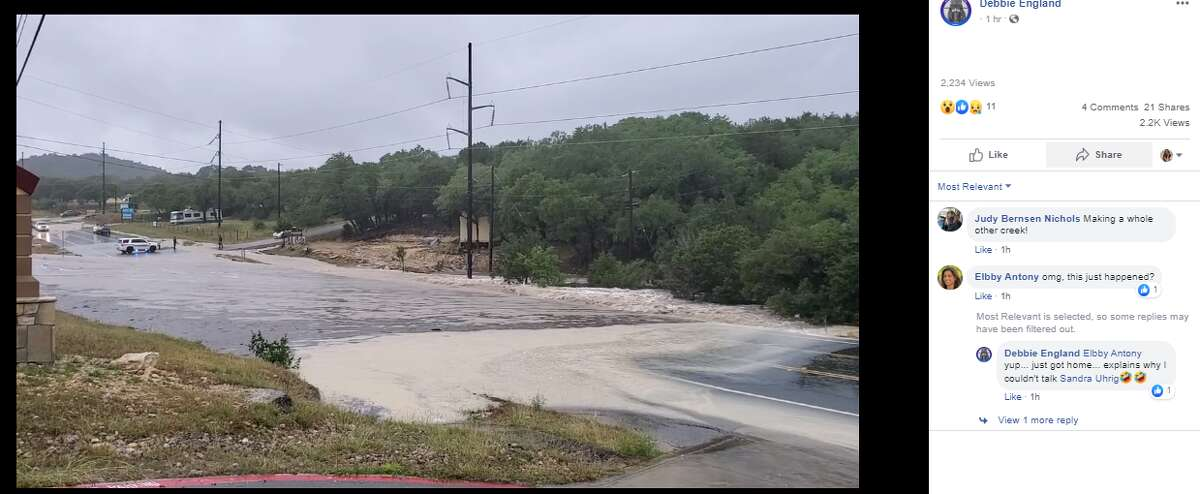 Posted by Facebook user Debbie England, this photo shows flooding in the Canyon Lake area on Tuesday.