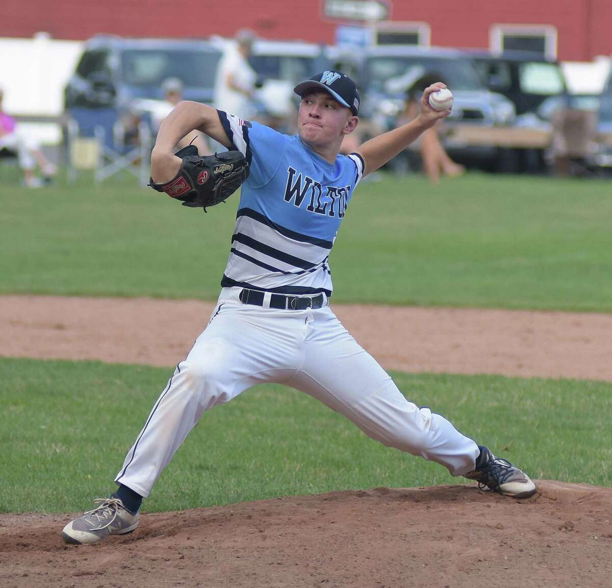 Wilton Post 86 pitcher Ryan Gabriele fires to the plate during an American Legion baseball state tournament game against Waterbury Post 1 at Wilton High School.
