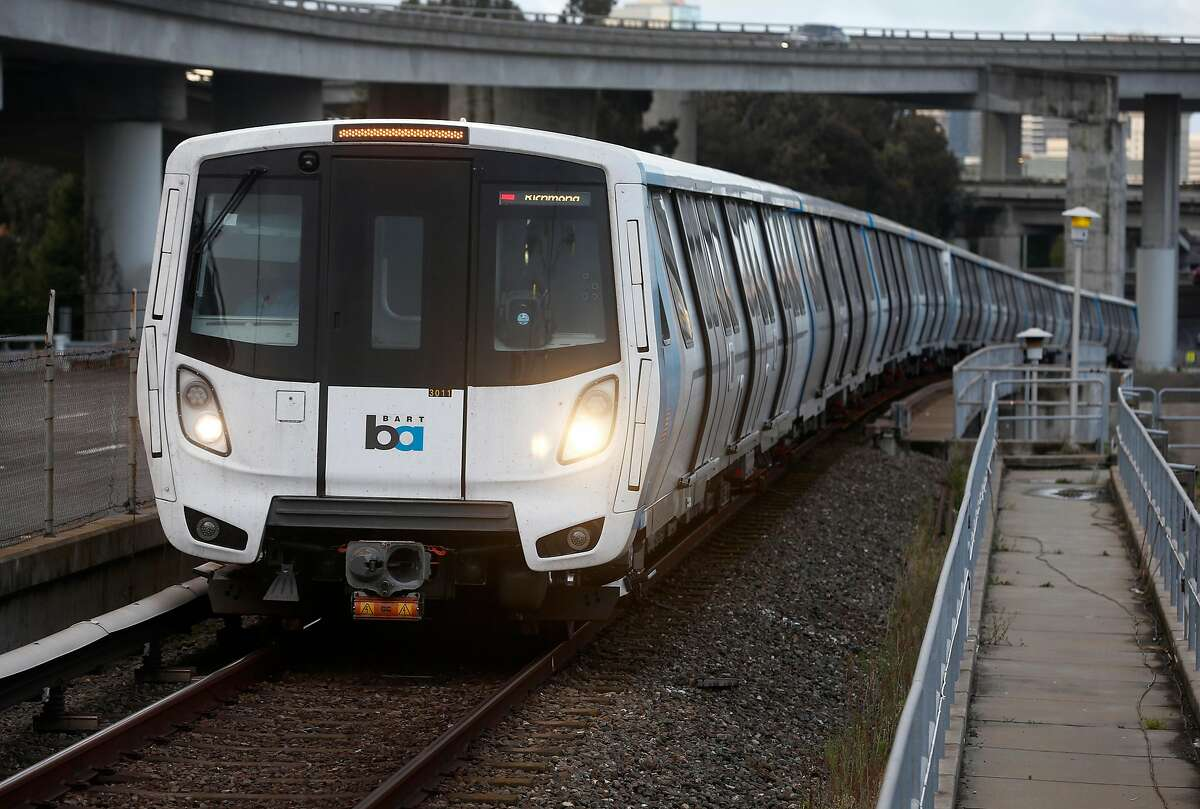 A train heading for Richmond pulls into the MacArthur BART station in Oakland, Calif. on Tuesday, May 12, 2020. BART is joining transit agencies from around the country in seeking economic federal relief funds because of dwindling ridership during the coronavirus shutdown.