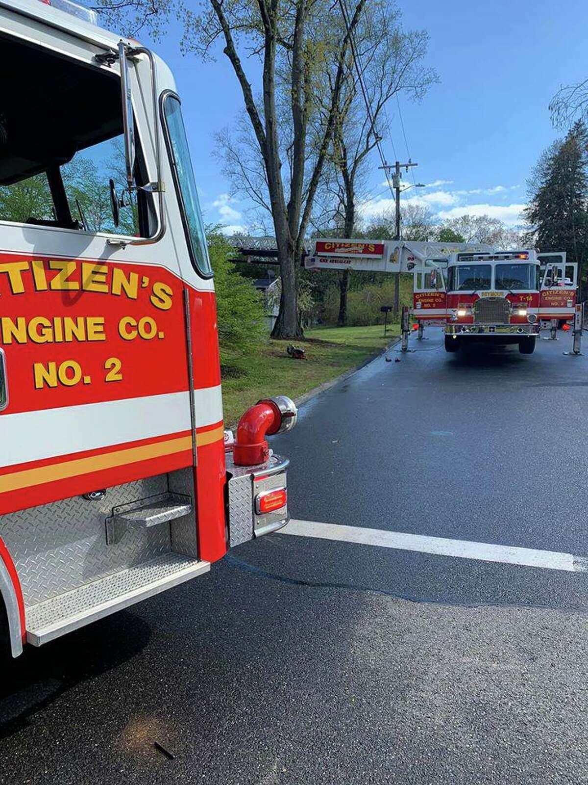 Units on scene for a fire at a Woodcrest Road home in Seymour, Conn., on Monday, May 11, 2020.