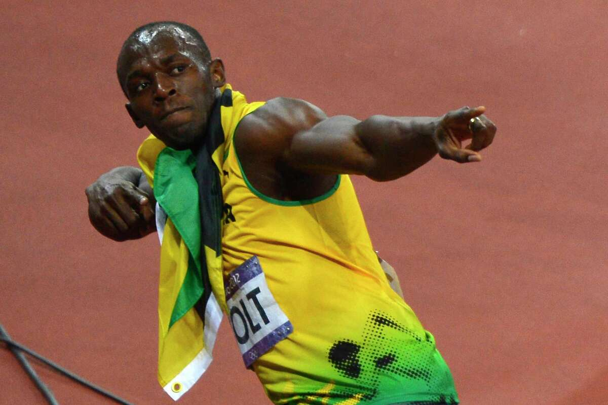 Jamaica's Usain Bolt celebrates after he won gold in the men's 200-meter final at the London Olympics in 2012.