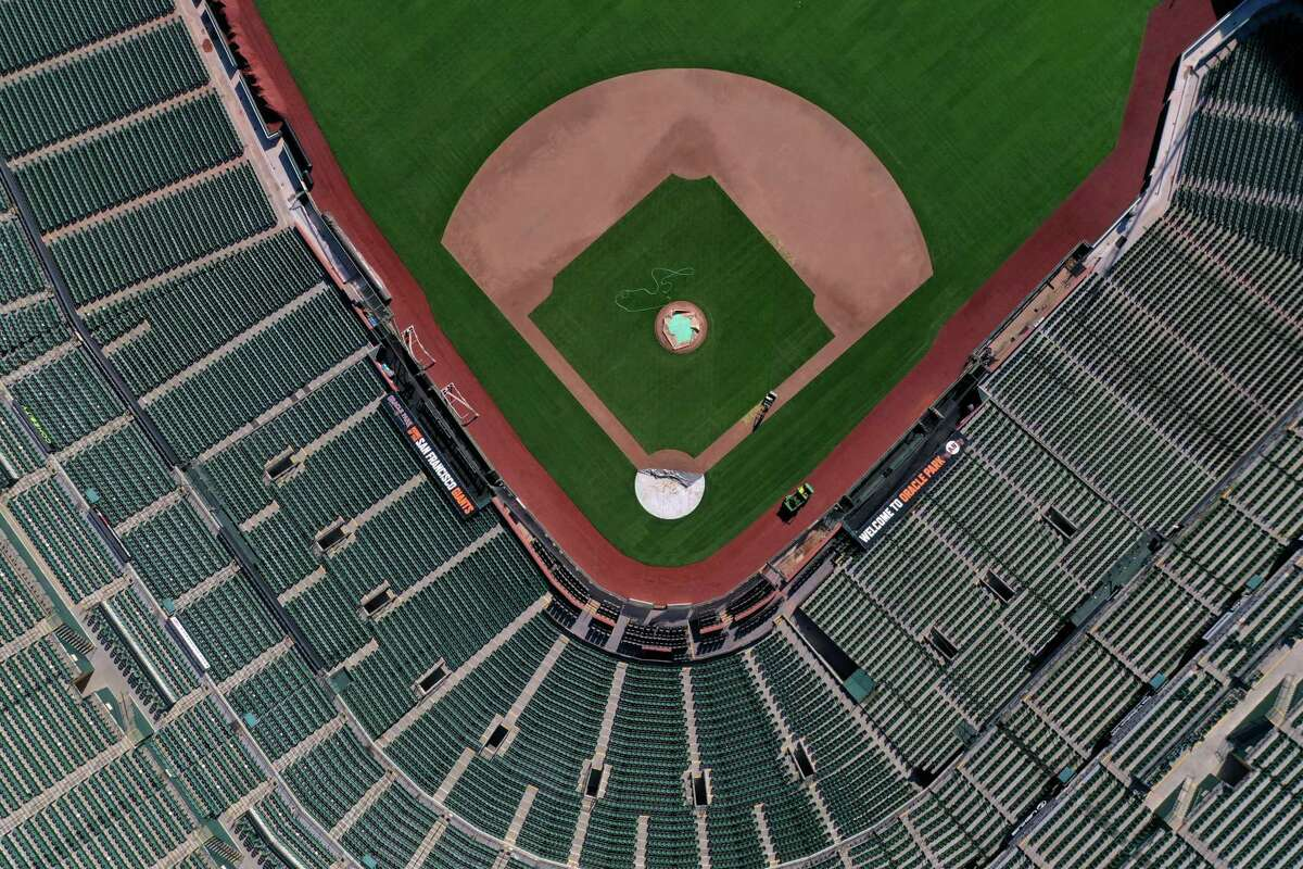 Oracle Park, seen from a drone overhead, was empty on what should have been Opening Day, March 26