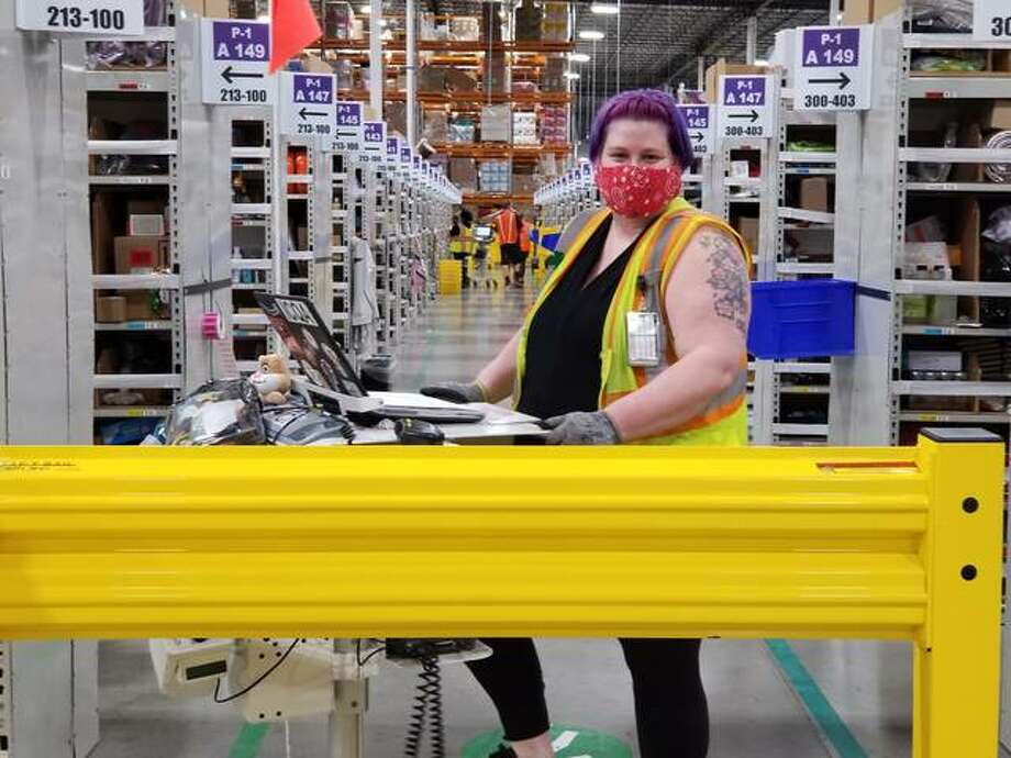Jennifer Kilcrease works as a process assistant ensuring quality control of her building and inventory from the STL4 Amazon Distribution Center in Edwardsville. Photo: Courtesy Of Amazon