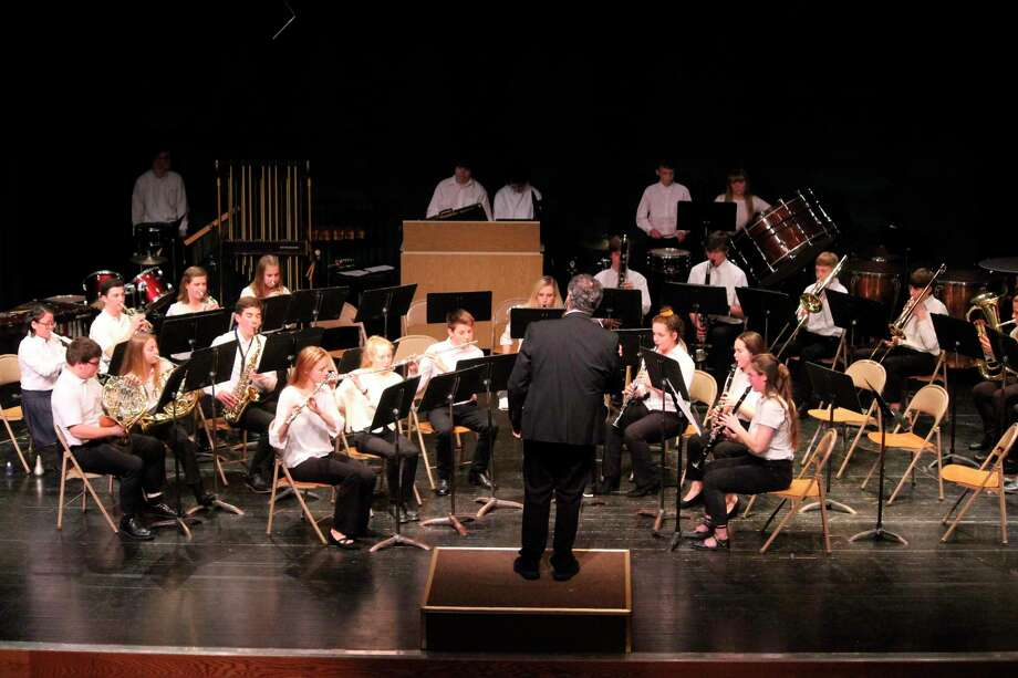 Eric Joslin directs Frankfort students during their holiday band concert in December. (File photo)