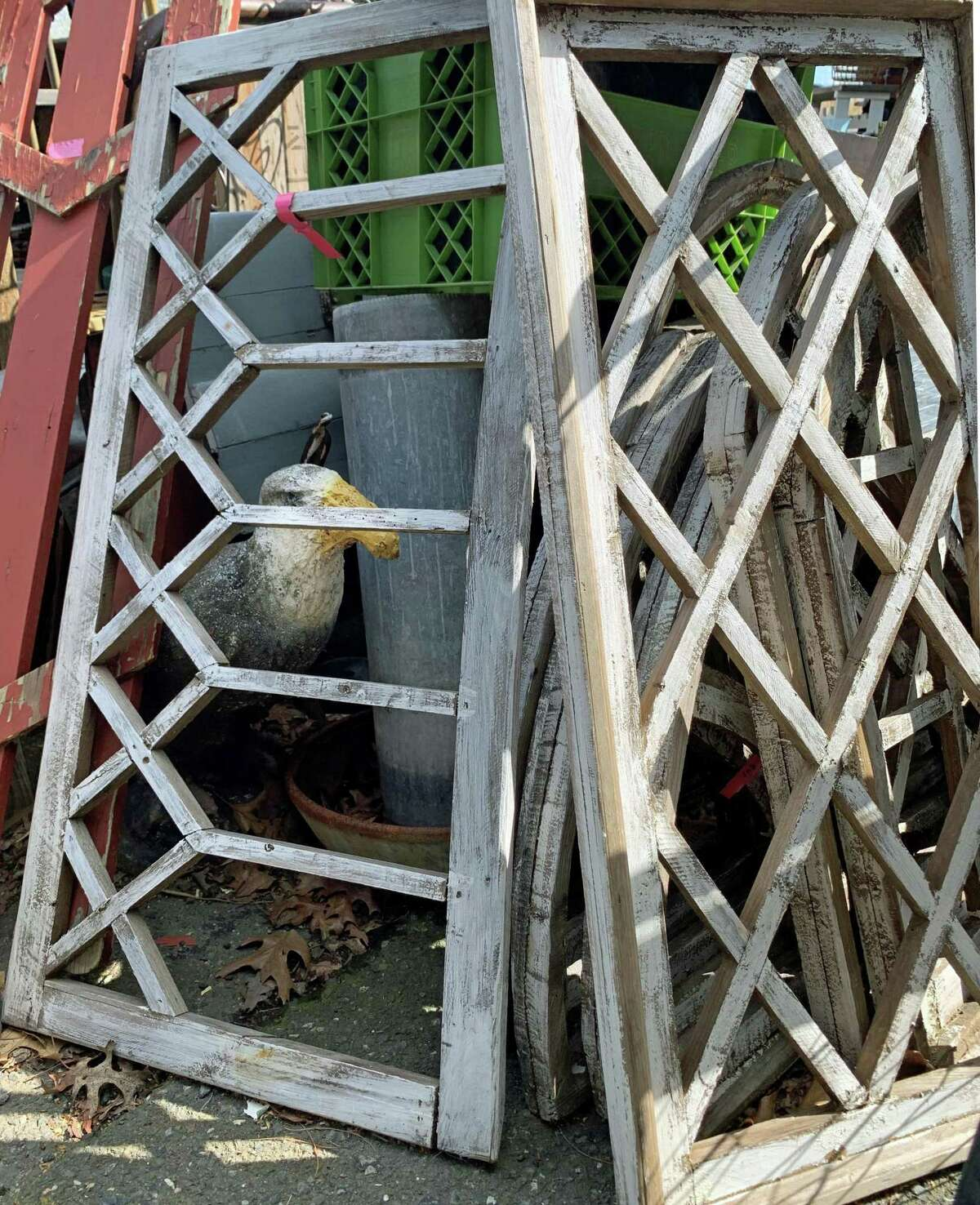 """Discarded window frames make a curious """"cage"""" for the wooden decoy of a seagull at the Picking Pot."""