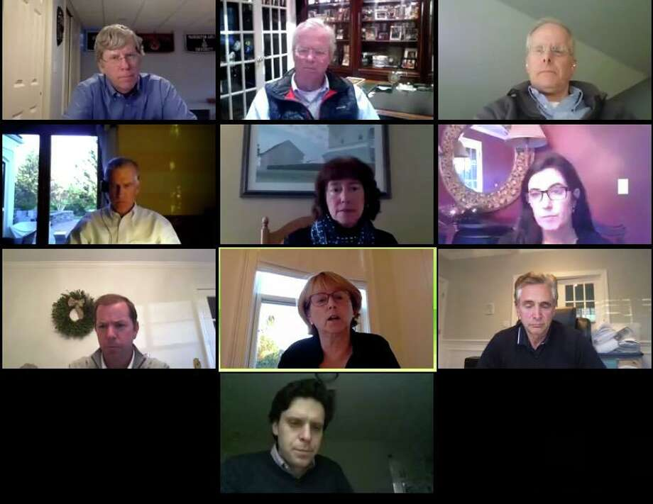 Members of the Board of Finance meet with town officials to discuss budgets on May 12, 2020. Top row, from left, finance member Michael Kaelin, chairman Jeff Rutishauser and member Peter Balderston. Second row, from left, finance member Chris Stroup, Board of Education Chair Deb Low, CFO Anne Kelly-Lenz. Third row, from left, Superintendent of Schools Kevin Smith, First Selectwoman Lynne Vanderslice, finance member Stewart Koenigsberg. At bottom is Kevin Gardner. Photo: Jeannette Ross / Hearst Connecticut Media / Wilton Bulletin