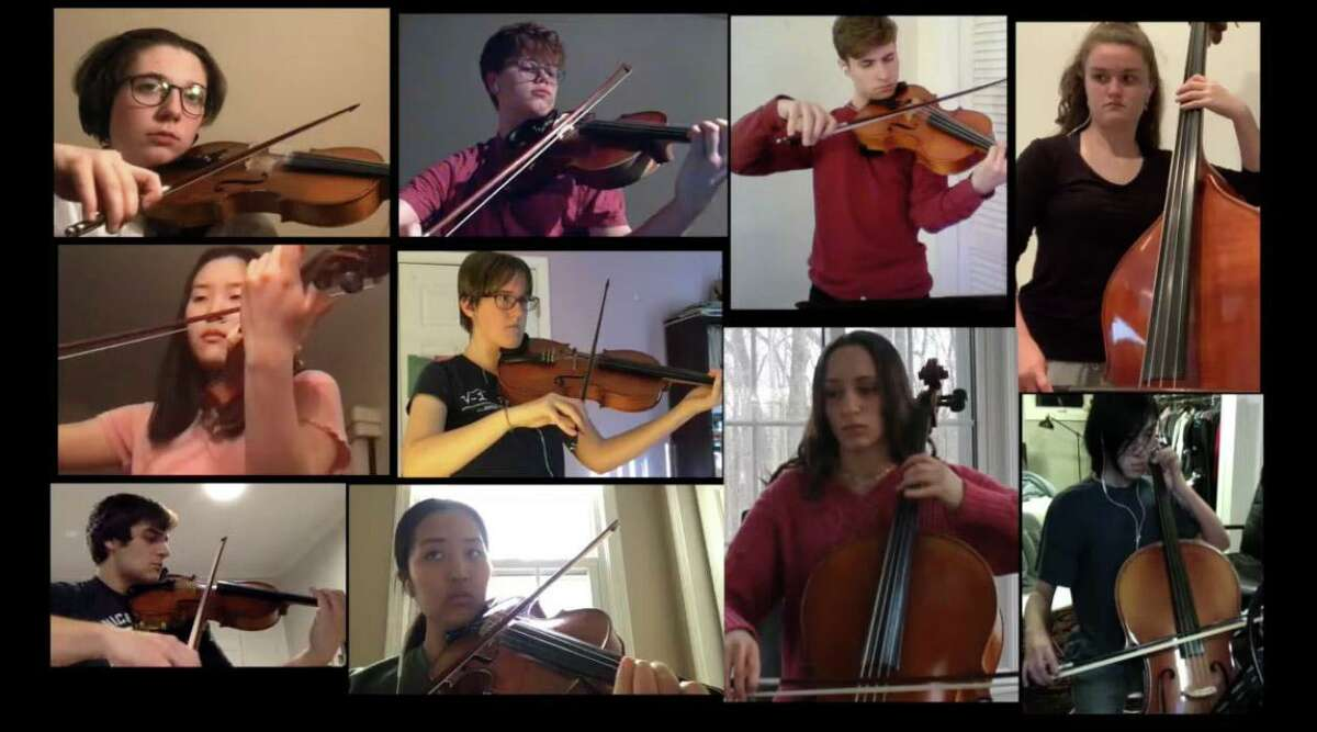 Ten Ridgefield High School musicians played on the online Dvorak largo. Top row, from left, are Ollie Heimbauer and Coleman Hoffner on violins, Michael Kovacs on viola, and Makena Davi on bass. Middle row, at left, is Celine Lee on violin, then Amy Grove on viola. At bottom, from left, are Miles Stoddart and Jeannette Kim on violins, then Alexandra Dillulio and Reed Koh on cello.