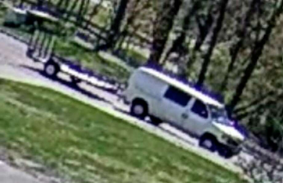Police are searching for suspects who stole a flat trailer Tuesday afternoon from a parking lot behind Jet's Pizza in Big Rapids. (Courtesy photo)