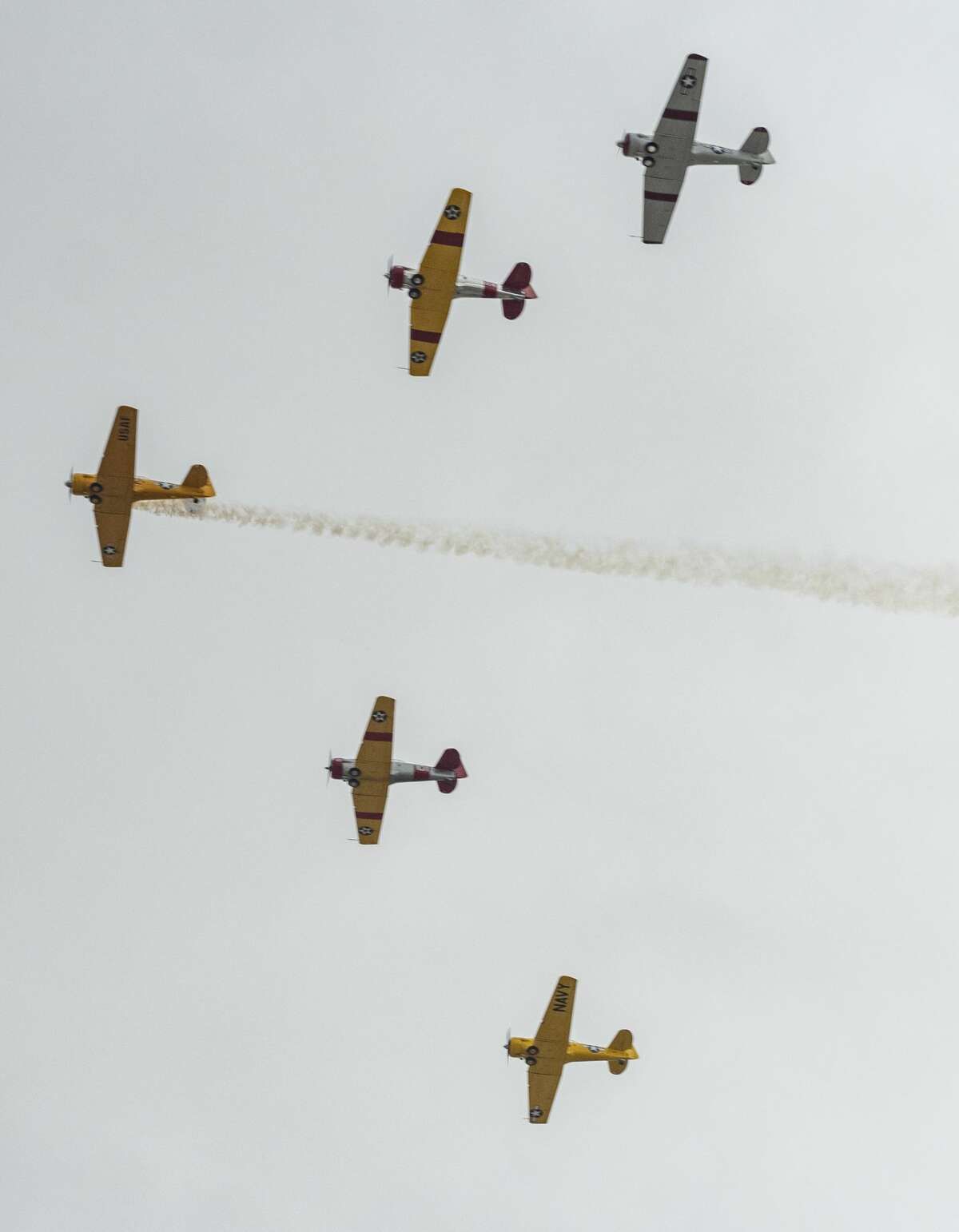 """Members of the Commemorative Air Force fly over Midland and Odessa 05/13/2020 for """"A Salute to the Spirit of West Texas"""" as we weather the storms of COVID-19 together. Tim Fischer/Reporter-Telegram"""