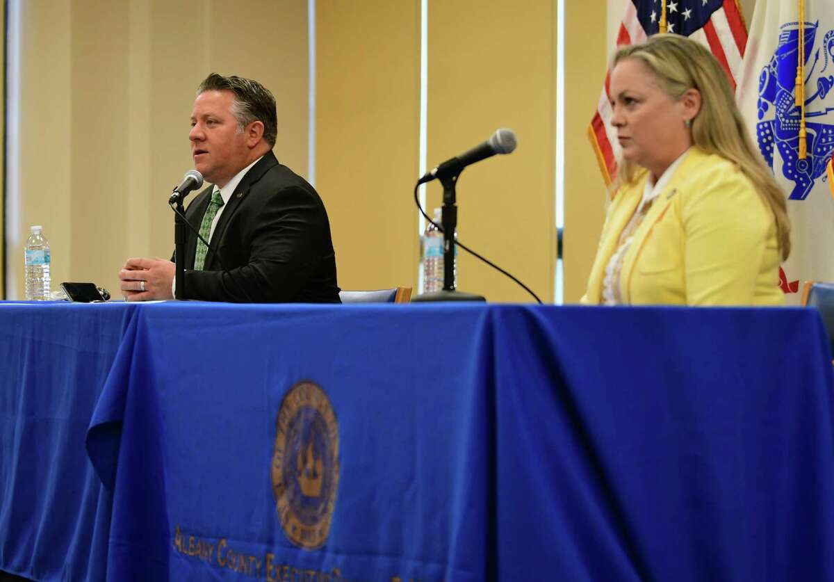 Albany County Executive Dan McCoy, left, speaks at his daily press conference to discuss the latest COVID-19 information on Wednesday, May 13, 2020 in Albany, N.Y. Albany County Department of Health Commissioner Dr. Elizabeth Whalen, right, also made her daily reports. (Lori Van Buren/Times Union)