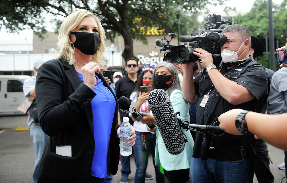 Small business owner Shelley Luther speaks to the media prior to a freedom rally, Wednesday, May 13, 2020, at Laredo City Hall.