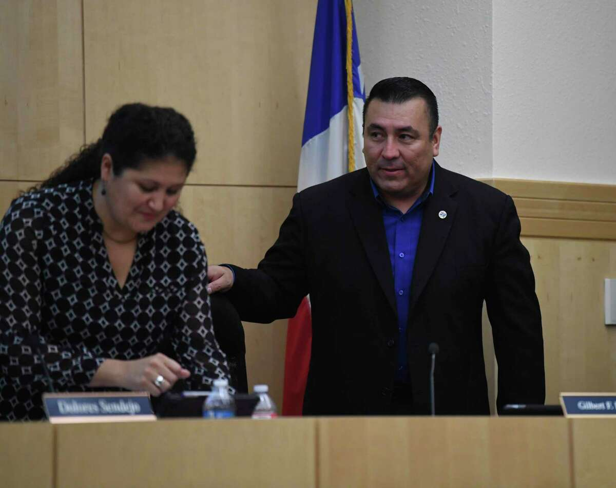 South San ISD trustee Gilbert Rodriguez, right, and interim superintendent Dolores Sendejo at a meeting in October. Rodriguez became board president in February. The board Wednesday named Marc Puig, the Beeville ISD superintendent, as its finalist to lead South San.