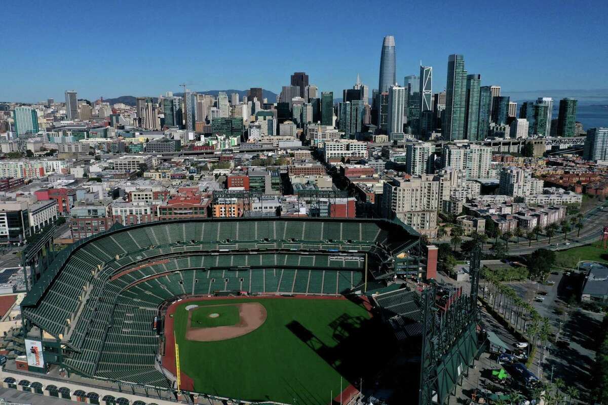 An aerial view from a drone shows Oracle Park, home of the Giants, empty on what to have been Opening Day on March 26, 2020,