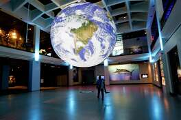 """Gaia - Earth by Luke Jerram"" is on view at the Houston Museum of Natural Science May 15-June 30."