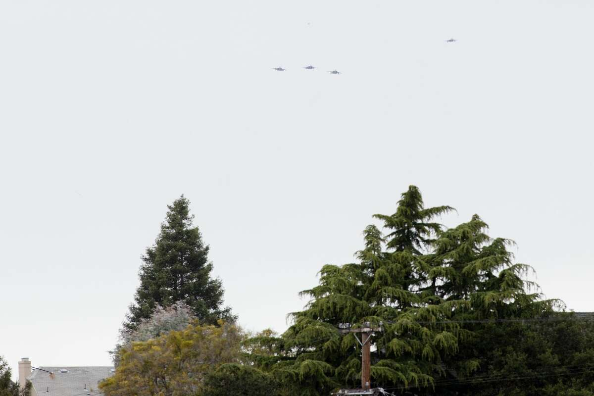 Scheduled to arrive in Oakland at 10:43 a.m., the planes were a few minutes late. The loud roar of their engines proceeded their appearance at just over a thousand feet in the air.