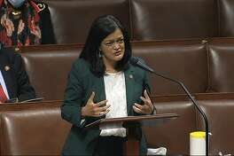 In this image from video, Rep. Pramila Jayapal, D-Wash., speaks on the floor of the House of Representatives at the U.S. Capitol in Washington, Thursday, April 23, 2020. (House Television via AP)