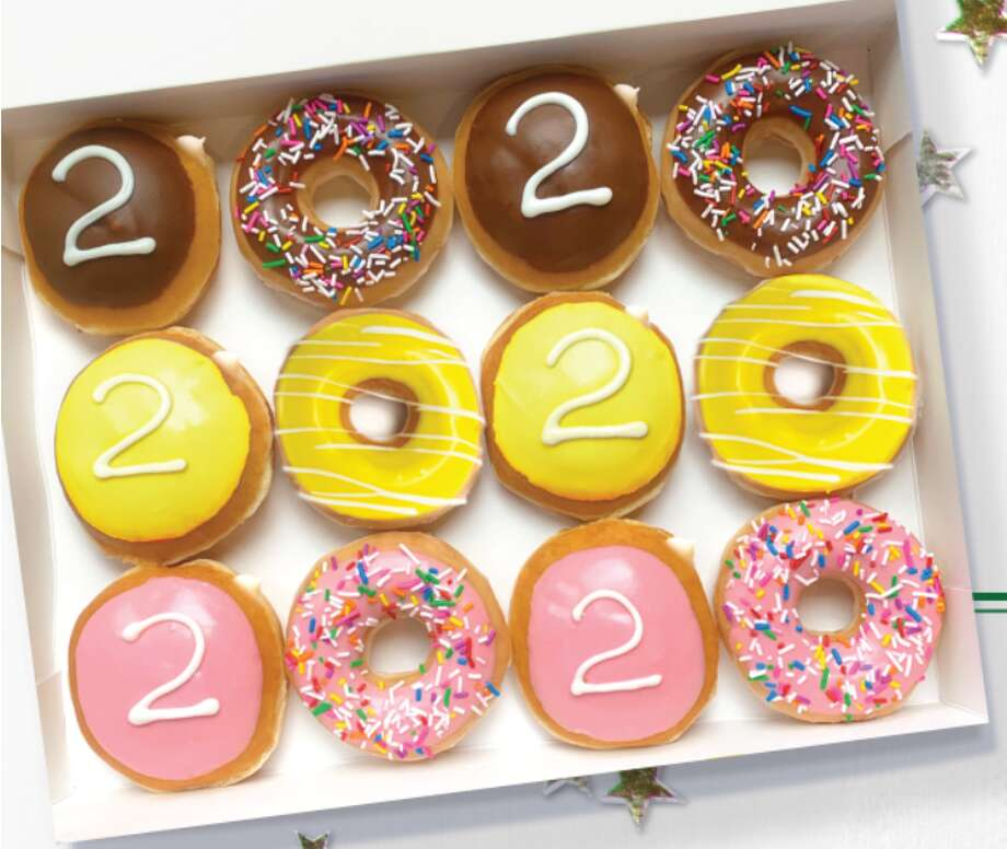 Seniors can get one 2020 Graduate Dozen FREE ON May 19 by wearing their cap and gown, or other Class of 2020 swag proving their senior status, to their local Krispy Kreme. The dozen includes an assortment of classic varieties: Chocolate Iced Kreme Filled, Strawberry Iced Kreme Filled, Cake Batter Filled, Chocolate Iced with Sprinkles, Strawberry Iced with Sprinkles, and Yellow Iced Original Glazed Doughnuts. Photo: Krispy Kreme