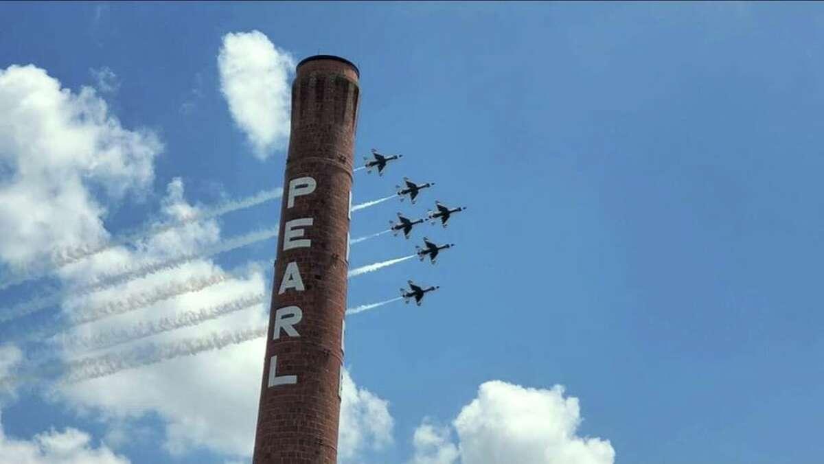 Angie Camacho sent mySA.com a photo she took as the Thunderbirds flyover the Pearl.
