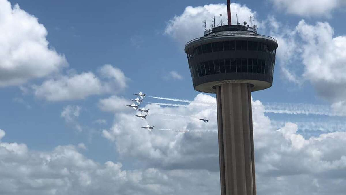 Ricky Rodriguez sent mySA.com a photo that shows the Thunderbirds passing the Tower of the Americas.