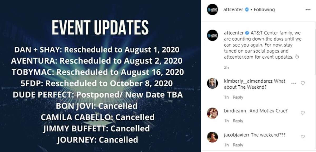 The AT&T Center updated music fans on the statuses of concerts that were affected by the coronavirus pandemic, and some have been canceled.