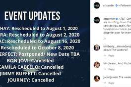 The AT&T Center updated music fans on the statuses of concerts that were affected by the coronavirus pandemic and some of them have now been canceled.