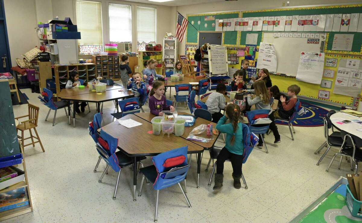 A busy classroom in Center Elementary School, Brookfield, Conn, Wednesday, February 27, 2019.
