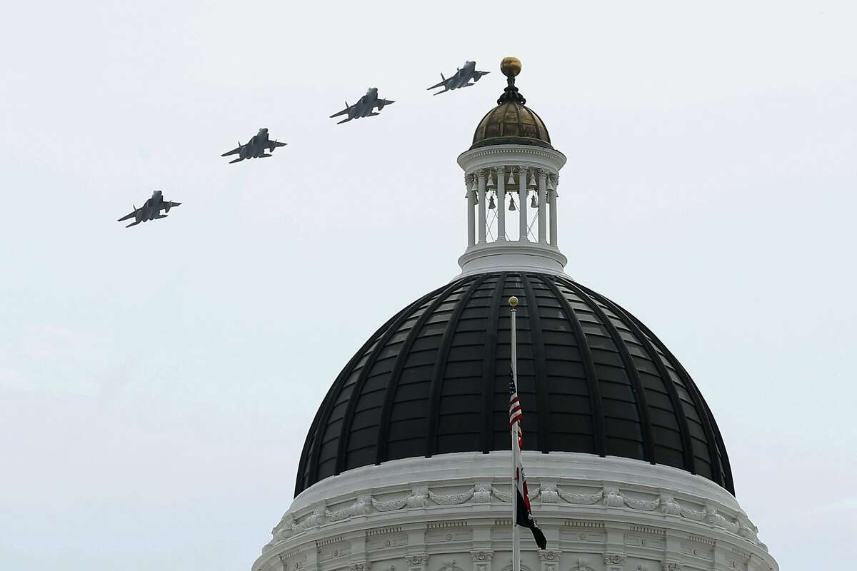 After taking off from their home base in Fresno around 10 a.m., the planes flew over Merced before buzzing loudly over the California State Capitol in Sacramento. The jets then banked west and flew over the East Bay and Oakland.