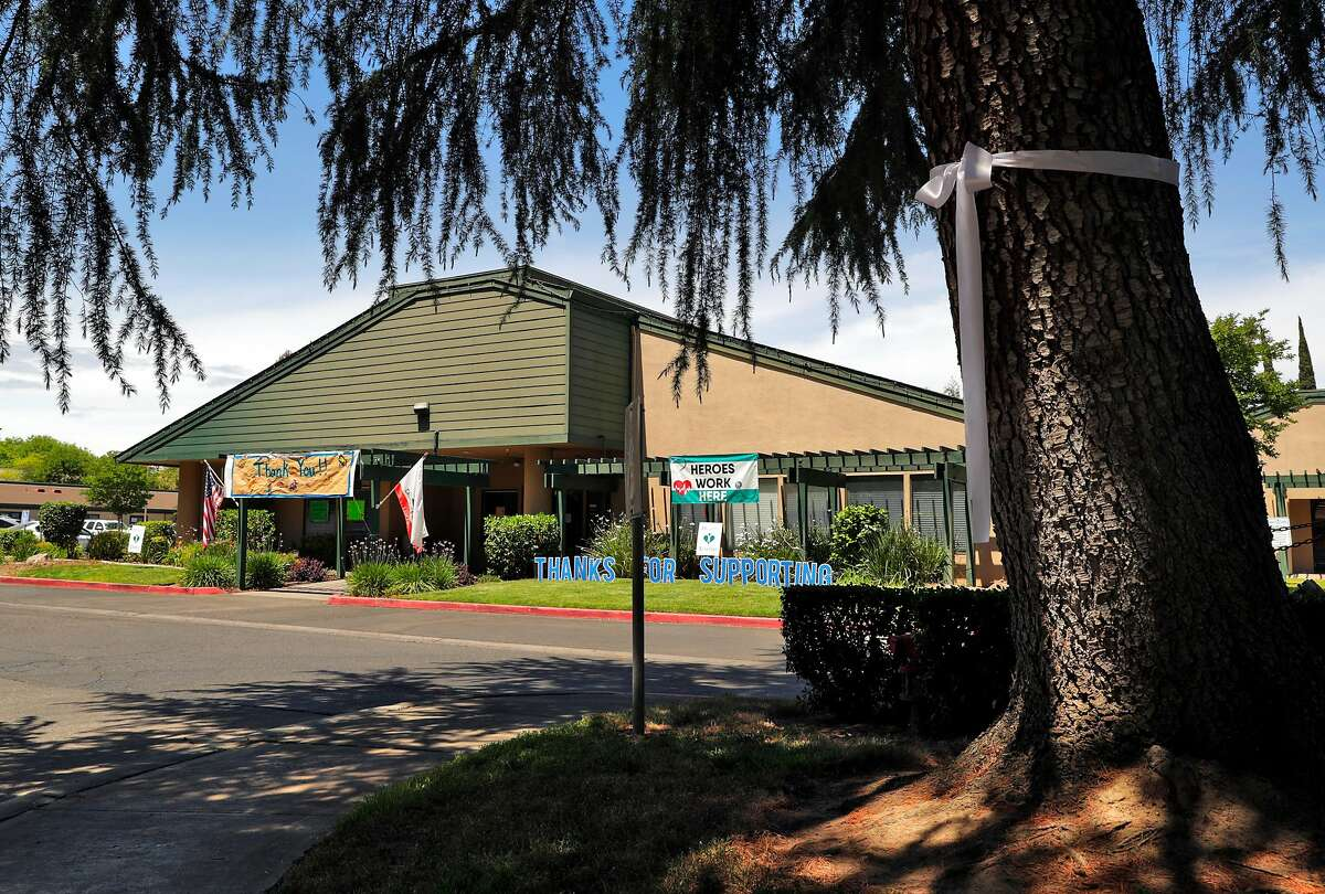 The Turlock Nursing and Rehabilitation Center where 14 residents have died from COVID-19 in Turlock, Calif., on Wednesday, May 13, 2020. About 150 residents and staff have tested positive at the facility.