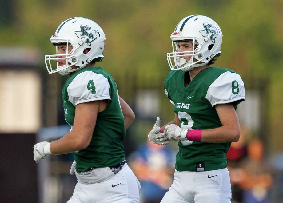 Kingwood Park wide receiver Canen Adrian (4) is seen next to his brother wide receiver Graycen Adrian (8) during the first quarter of a District 9-5A (Div. 1) high school football game at Turner Stadium, Saturday, Oct. 19, 2019, in Humble. Photo: Jason Fochtman, Houston Chronicle / Staff Photographer / Houston Chronicle