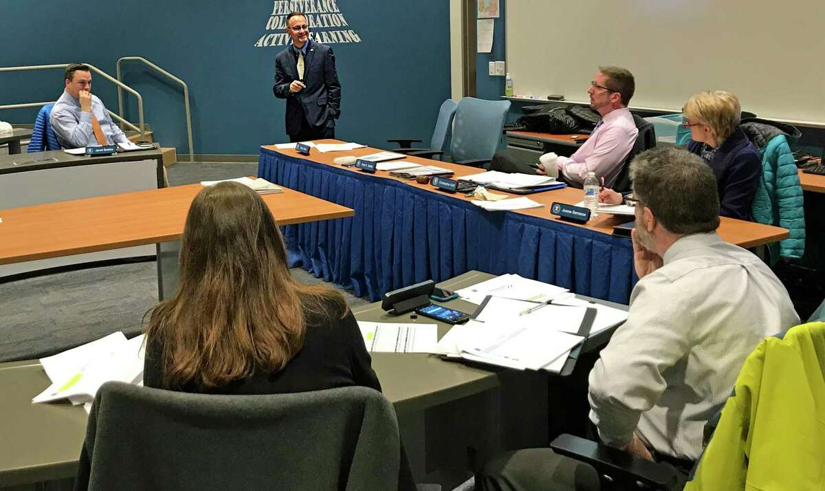 East Hampton Superintendent of Schools Paul K. Smith at a Board of Education budget meeting in 2019.