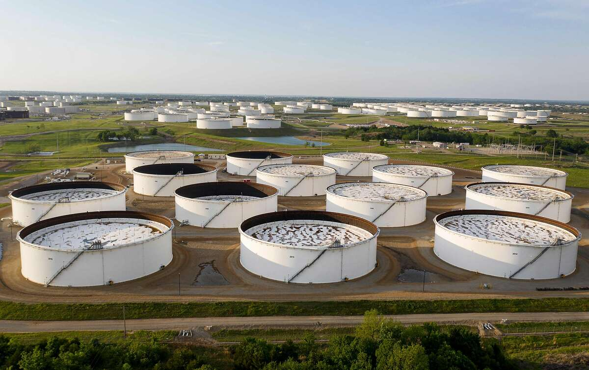 An aerial view of a crude oil storage facility is seen on May 4, 2020 in Cushing, Oklahoma.