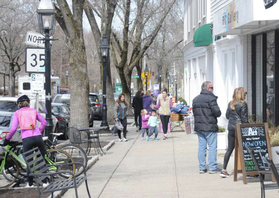 The Ridgefield Reopens committee says slow careful steps can bring people back to the town's commercial areas, as they were on Saturday March 14, just before coronavirus began shutting down the town. Photo: Macklin Reid / Hearst Conneticut Media
