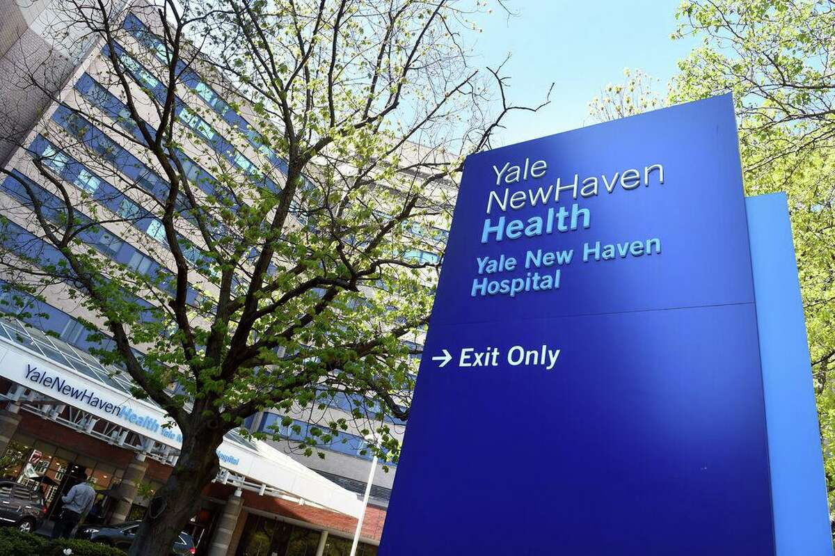 The front entrance of Yale New Haven Hospital in New Haven, May, 2020.