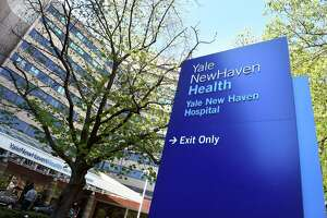 The front entrance of Yale New Haven Hospital in New Haven in 2020.