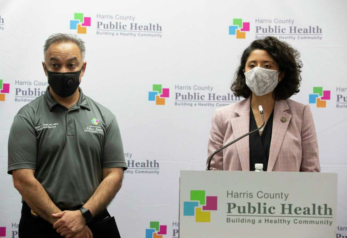 Harris County Judge Lina Hidalgo, right, and Harris County Public Health Department Executive Director and Dr. Umair Shah speak about the contact tracer army during a press conference Wednesday, May 13, 2020, in Houston. The HCPHD currently has about 50 contact tracers and the agency is aiming to have 200 by the end of the week, and have 300 contact tracers next week.