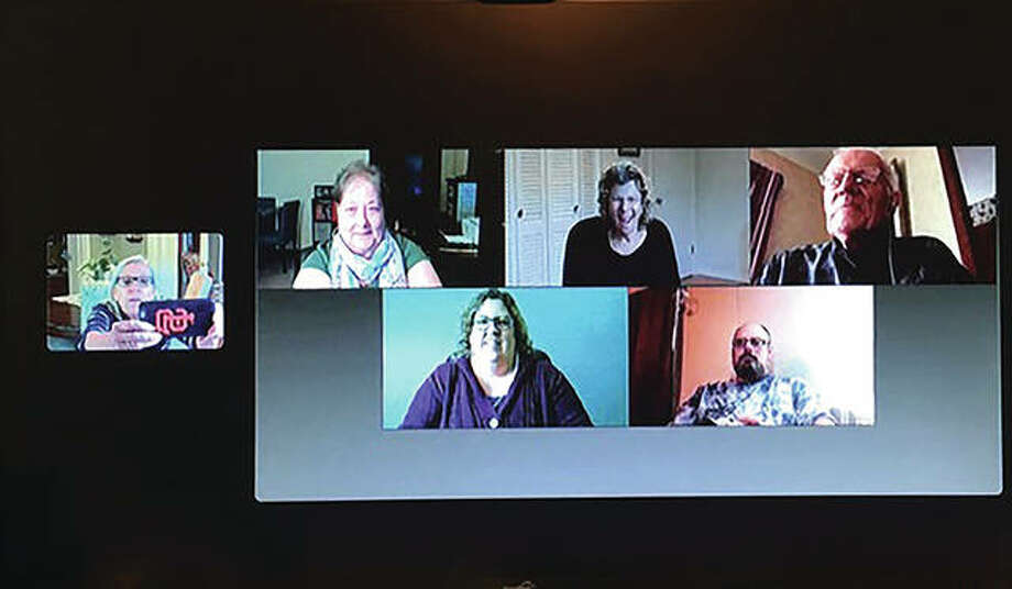 People who are deaf or hard of hearing feel even more isolated during the COVID-19 pandemic, in part because of the state's order to wear masks when out in public. Among those struggling with the changes are Paula Chance (left), DeDe Summers (top row, from left), Jeannie Jones, Ted Huber, ASL interpreter Susan Hall (bottom row, from left) and Ray Higuet.