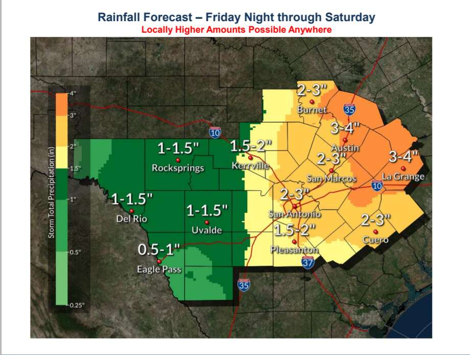 The rest of the week will be a wet one as more severe storms are expected for San Antonio. Photo: National Weather Service