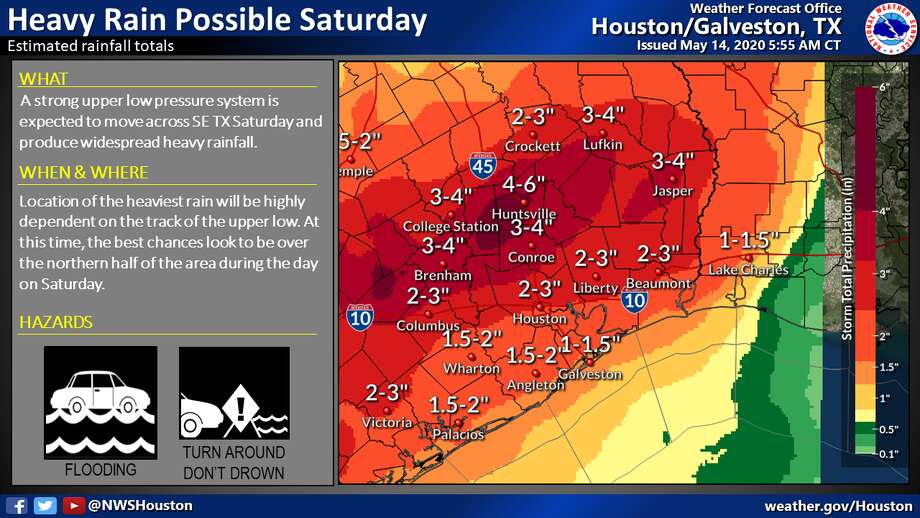 Heavy rainfall is predicted Saturday, May 16, 2020, in Houston. Photo: National Weather Service