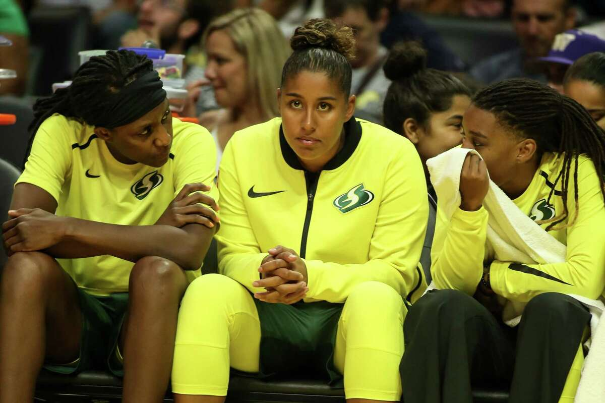 Seattle Storm forward Kaleena Mosqueda-Lewis waits on the bench during a game against the Los Angeles Sparks on Aug. 4 in Los Angeles.