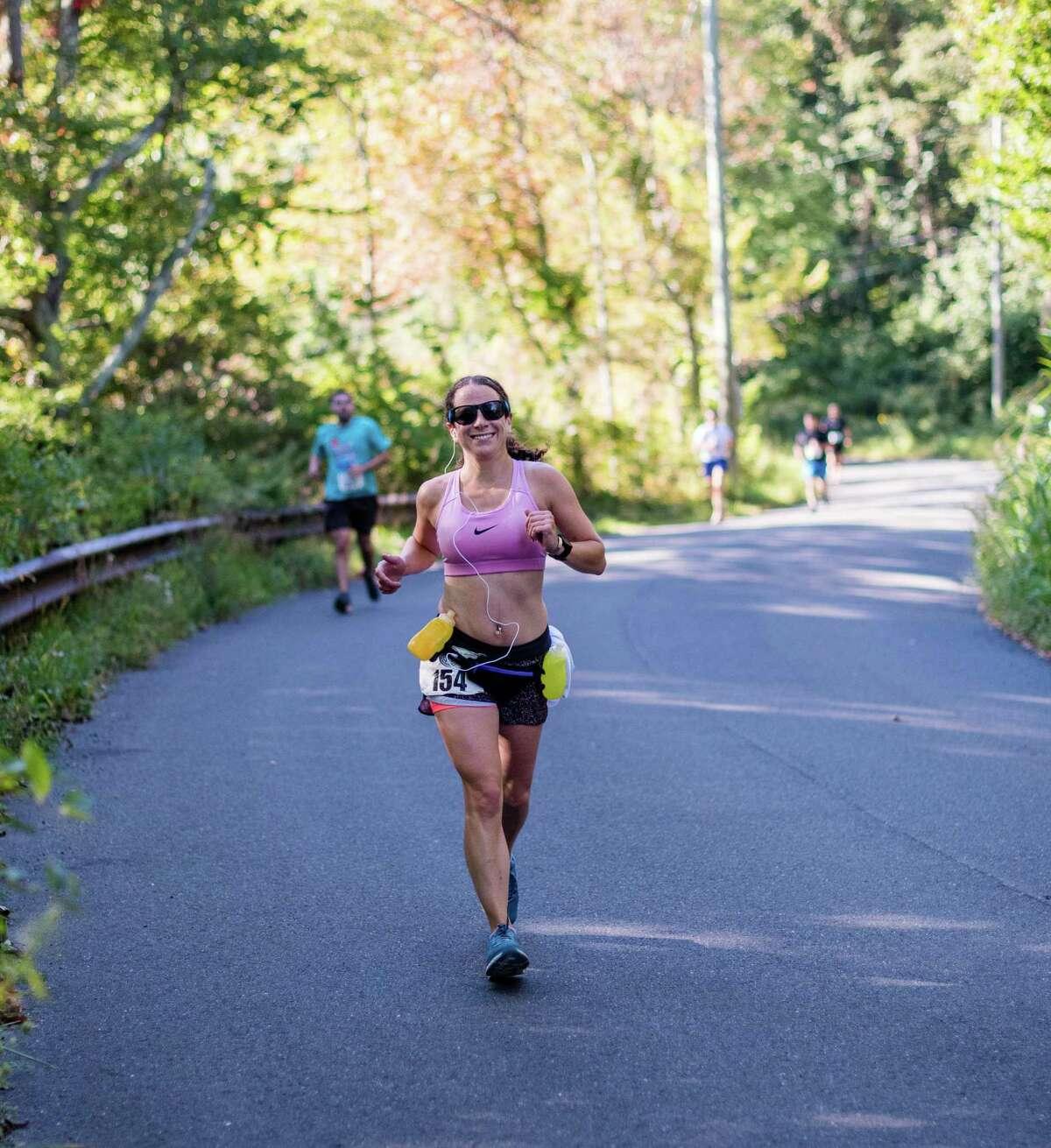 Sharon Rosenblatt competes in the Pamby Ridgefield Half Marathon last October. Rosenblatt is currently running or walking every street in Ridgefield.