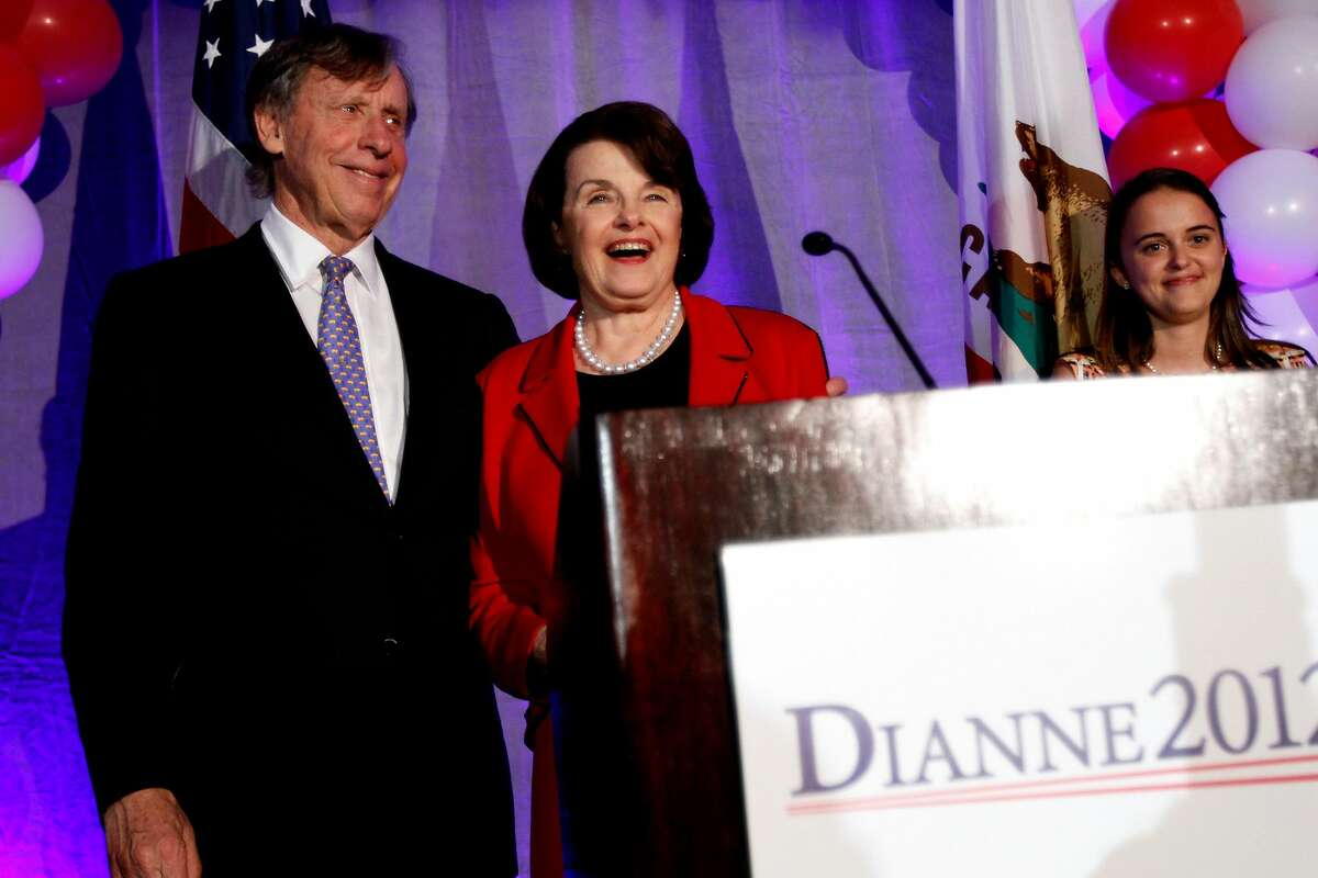 Senator Dianne Feinstein celebrates with her husband, Richard Blum, at her victory party on election night at the Fairmont in San Francisco, Calif., Tuesday, November 6, 2012.
