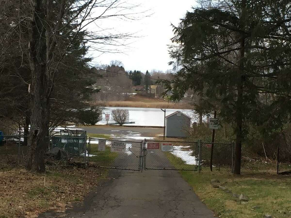 The entrance to the beach area at Cedar Pond in North Branford, December 2019.